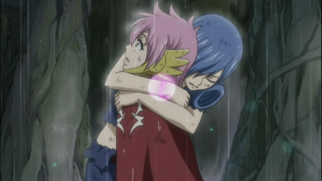 Juvia hugs Meldy