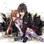 Kirito Holding an unconcious Asuna