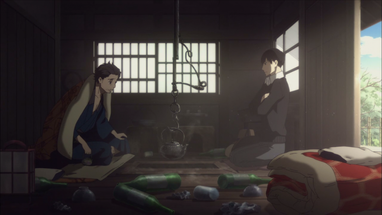 Kikuhiko in the light with the tidy futon, Sukeroku in the shadows with the mess...perfect shot to highlight contrasts.