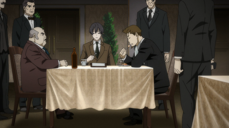 Nero and Angelo calmly eating dinner while men in suits stand around them with their guns out. That's it. That's the show.